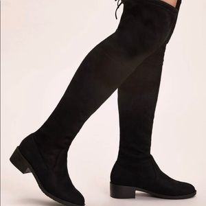 Aldo Black Suede Leather Over the Knee Boots 7.5
